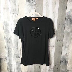 Tory Burch Black Patent Leather Tee H29